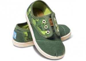 Слипоны детские Cordones Green Animal Camo Tiny Toms  Toms